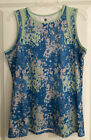 Noble Equestrian Lily Tank Top- Large- Imperial Blue Floral Camo/Fresh Mint
