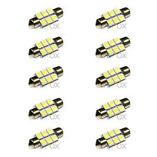 10x CosMox Xenon White 36mm Festoon 6 SMD LED Dome / Map / License Plate Panel