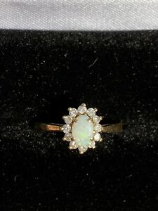 Opal Cabochon and Diamond 14k Solid Yellow Gold Vintage Antique Ring Sz. 6 1/2