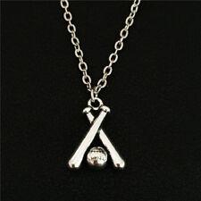 Vintage Silver Double Baseball Bat Cross Ball Pendant Necklace