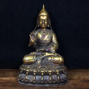Tibet Tibetan Buddhism Pure copper Set gemstone tsongkhapa master Buddha statue