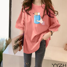 20 Womens Loose Fit Summer T-shirt 100%Cotton Oversize Korean Fashion Tops S-5XL