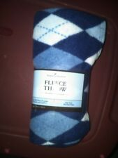 NEW IN PACKAGE COLORFUL BLUE ARGYLE PATTERN FLEECE THROW 46 IN X 56 IN