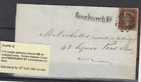 GB QV 1841 1d Imperf Entire Cover Plate 12 Maltese Cross Fenchurch St JK3548