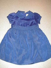 EUC Vintage Gymboree RARE!!! BLUE Velveteen/Tafetta Dress HOLIDAY GARLAND  6-12