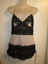 Marciano S NWT $88 Corset Top Lace Lingerie Cami Tank Top Beige Black 100% Silk