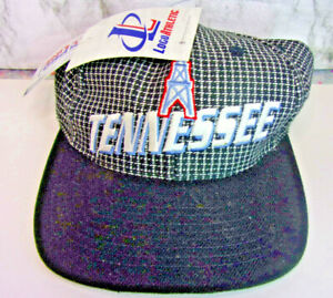 Vintage 90s Tennessee Oilers Logo Athletic checkered Hat / Cap (Very Rare) NWT