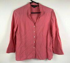 Sportcraft Womens Button Up Top Pure Linen Size 16 Pink Salmon Smart Casual