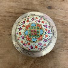 Antique Persian Silver Snuff Box Compact Mirror Mother Of Pearl Painted Flowers