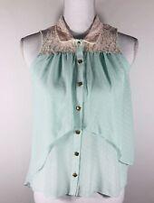 HeartSoul Mint Green Button-Up White Polka Dots Lace Yolk & Collar Blouse Sz xs