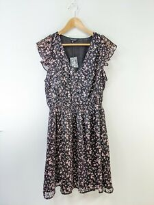 New $119 Lucky Brand Sz M Black Pink Floral Poly Cap Sleeve Dress