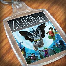 Personalised BATMAN LEGO KEYRING, Lunch Bag, son daughter grandson nephew niece