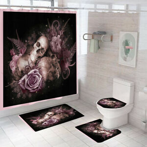Floral Skull Shower Curtain Set Bathroom Rug Thick Toilet Lid Cover Bath Mat