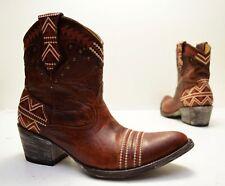 Old Gringo Yippe Ki Yay Alexa Leather Brass Studs Aztec Print Cowboy Boot Sz 9 B