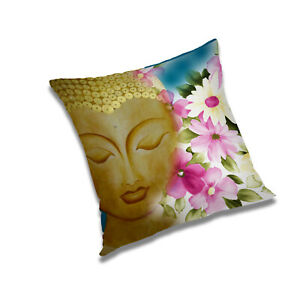 """Buddha Beige Printed Pillow/Cushion Cover 20x20"""" Square Polyester Cover"""