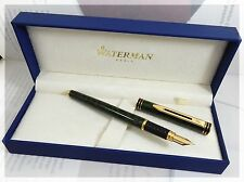 WATERMAN EXCLUSIVE GREEN MARBLE & GOLD FOUNTAIN PEN 18K FINE  PT NEW IN BOX