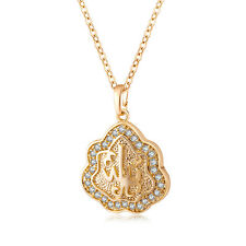 Lucky CZ Hollow White Gold Filled Charm Allah Pendant Long Necklace Chain