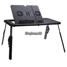 Black Adjustable Portable Laptop Table USB Folding 2 Cooling Fan Mouse Pad New