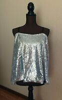 Womens Plus Size 2X Karen Strappy Tank Top Silver Sequin Adjustable Straps New
