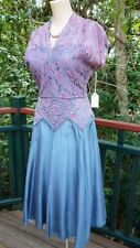 1940s Vintage Dress Blue Mauve Lace Swing Cocktail Evening Taffeta 38/30/free 12