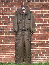 Vintage Sears Work Leisure Snow Ski Snowmobile Suit Brown Belted Mens Size 48