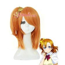 Love Live Kousaka Honoka Orange Medium Straight Clip Ponytail Cosplay Wig USA