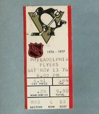 1976-77 Pittsburgh PENGUINS Philadelphia FLYERS NHL Vintage Hockey Ticket Stub 1