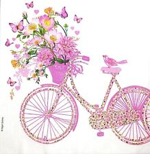 M702# 3 x Single Paper Napkins For Decoupage Pink Flowers Bike Bicycle Butterfly