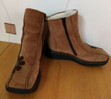 RIEKER ANKLE BOOTS 6 39 BROWN SUEDE LEATHER FLORAL DETAIL WEDGE WINTER