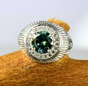 Stunning Collection Green Diamond Solitaire Halo 4.12 Ct Certified Men's Ring