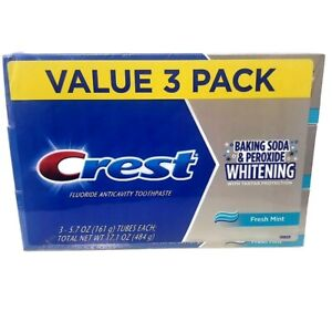 Crest Baking Soda and Peroxide Whitening Fresh Mint Toothpaste, 3 PACK