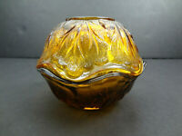 Vintage Indiana Glass Pebble Leaf Fairy Lamp Mid Century Amber