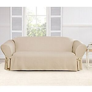 Sure Fit Everyday Chenille 1 piece Sofa Slipcover Box Cushion in Tan/Cream