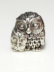 AUTHENTIC PANDORA SILVER CHARM  MOTHER OWL AND BABY OWL CHARM #791966