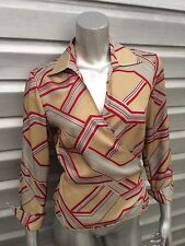 POLECI Long Sleeve Cuffed Silk Geometric Print Wrap Blouse Top