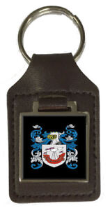 Owens Family Crest Surname Coat Of Arms Brown Leather Keyring Engraved
