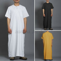 Mens Clothing Saudi Arab Long Sleeve Embroidery Islamic Jubba Thobe Kaftan Tops
