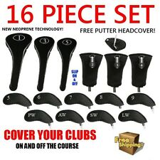 NEW BLACK DRIVER WOODS HYBRIDS IRONS PUTTER GOLF CLUB HEADCOVERS SET HEAD COVER