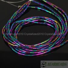 Hematite Gemstone 2mm x 4mm Tube Beads 16'' Metallic Silver Gold Blue Purple