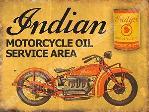 Vintage Garage, 42 Indian Motorcycle Oil Service Area, Old. Small Metal Tin Sign