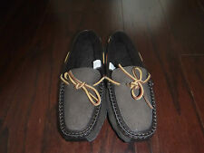 LANDS' END BROWN SUEDE FLEECE LINED SLIPPER LOAFERS  BOYS SZ 4- 5  NWOB