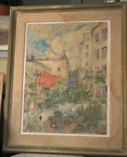 Wonderful NYC Oil-Signed-1960-Sunny Summer Day-On 17th St-Ursula's Garden