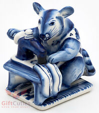 Gzhel Mice mouse tailor on sewing machine porcelain figurine souvenir handmade