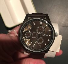 New Fossil ME1123 Twist Automatic Brown Leather Analog Men's Watch