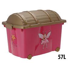 Treasure Chest Toy Box Fairy Girls Kids Storage Organizer Container Wheeled 57L