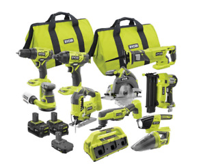 ONE+ 12-Tools18V Cordless Combo Kit with (3) Batteries, Charger, +300 Pieces