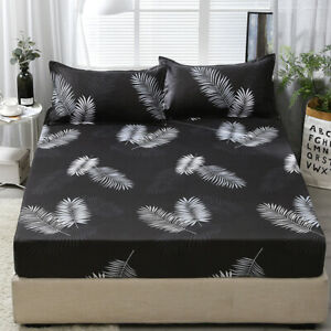 Floral Bed Cover Fitted Sheet Mattress Protector Bedding Full Queen King Size