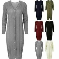 NEW LADIES CABLE KNITTED V NECK FULL LENGTH LONG SLEEVE MAXI CARDIGAN SIZE 8-16