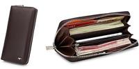 Men Wallet cow Genuine Leather Purse billfold Clutch long Zip brown 4964081-02