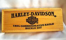 Harley-Davidson Motorcycles 1994 Commemorative Eagle Buckle Set Wood Box New